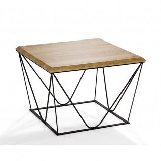 Massivholz Couchtisch Asteiche/Metall 60x60x47cm