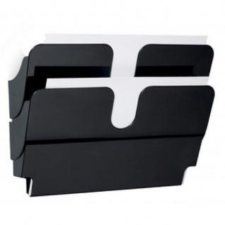 Wand Prospekthalter Set FLEXIPLUS 2, A4 Querformat 2 Fächer schwarz