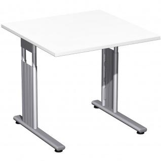 Gera Schreibtisch Bürotisch C Fuß Flex höhenverstellbar 800x800x680-820mm ahorn buche lichtgrau weiß - Vorschau 2