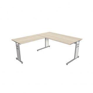 Kerkmann Schreibtisch 4096 Form 4 180x80 x mit C-Fuß-Gestell und Anbautisch - Vorschau 2