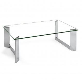 Moderner Couchtisch System Oblique Klarglas/Metall verchromt 110x70x39cm