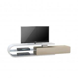 Lowboard 7766 weiß matt - Glas sand 200 x 40 x 40 cm