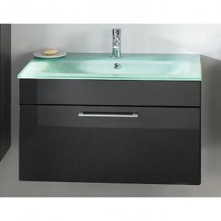 Badmöbel Badezimmer Waschplatz Heron mit Aquamarin-Glasbecken MDF Hochglanz Fronten anthrazit