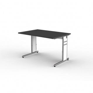 Kerkmann Schreibtisch 4100 Form 4 120x80 cm C-Fuß Alusilber Applikationen Typ C