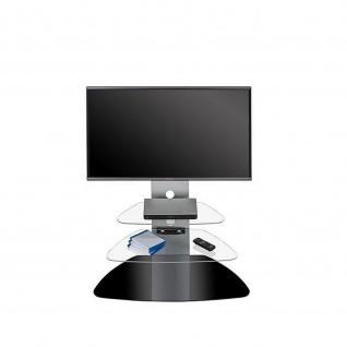 TV-Rack, Metall Alu - Schwarzglas, 88 x 113 x 48, 4 cm