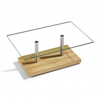 Massivholz Couchtisch Kernbuche/Edelstahl/Klarglas mit Rollen 110x70x40cm