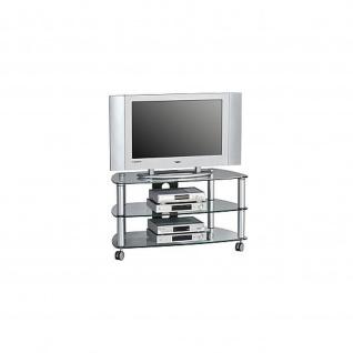 TV- Rack, TV Möbel, Metall Alu - Klarglas, 950 x 528 x 514 mm
