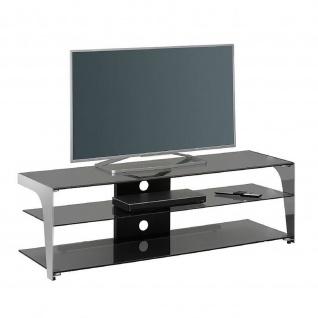 TV Rack Metall chrom - Rauchglas 130x40, 8x40cm