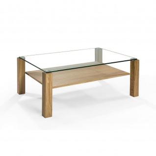 Massivholz Couchtisch System Config Pro Asteiche/Klarglas mit Rollen u. Ablageboden 100x70x46cm