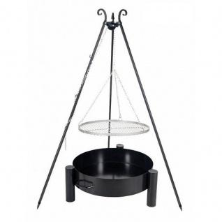 Outdoor Grill mit Feuerschale Pan 33, Dreibein, Rost Edelstahl o. Rohstahl verschiedene Größen