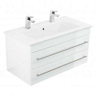Badmöbel Villeroy&Boch Waschplatz Doppel-Waschbecken Venticello 120cm mit Unterschrank weiß Hochglanz