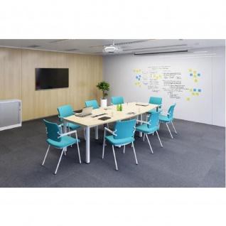 Konferenztisch Bürotisch E10 Toro Rundrohrgestell alu weiß dkl.grau schwarz - Vorschau 3
