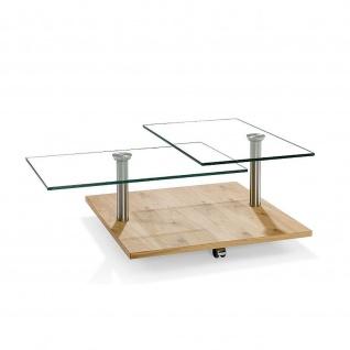 Massivholz Couchtisch Asteiche/Edelstahl/Klarglas mit Rollen Tischplatte schwenkbar
