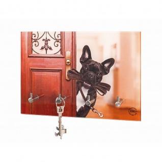 Schlüsselbrett Schlüsselboard Motiv Hund Sicherheitsglas mit Printmotiv 4 Haken Edelstahllook