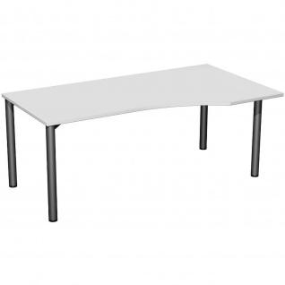 Gera PC-Schreibtisch Bürotisch 4 Fuß Flex Freiform rechts 1800x800/1000mm ahorn buche lichtgrau weiß - Vorschau 2