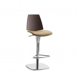 Mayer Design Lift Barhocker Tresenhocker Montana 1273 Chrom Lederausführung 961 schlamm/fango 81 008 Echt Leder sand