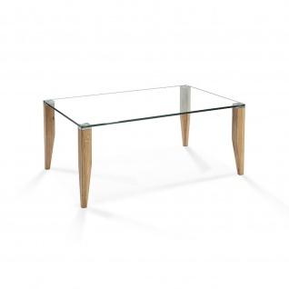 Massivholz Couchtisch System Config Pro Asteiche/Klarglas 100x70x46cm