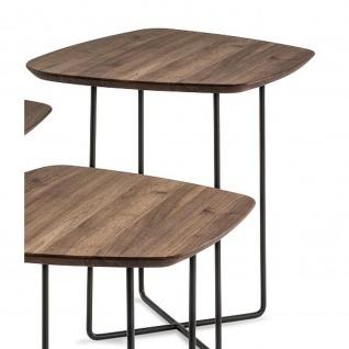 Massivholz Couchtisch Beistelltisch System Soft Freiform Nussbaum/Metall 50x50x58cm - Vorschau 2