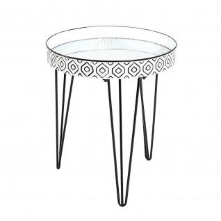Beistelltisch Couchtisch WESER 1 schwarz-weiß Metall/Spiegelglas H:53cm - Vorschau 2