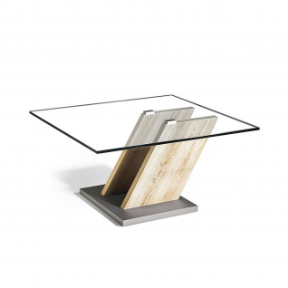 Massivholz Couchtisch Sonoma Eiche/Klarglas mit Rollen 80x80x45cm