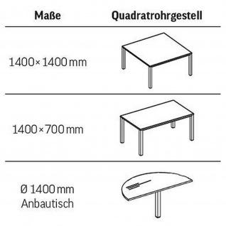 Anbautisch für Konferenztisch Bürotisch E10 Toro D:140 cm Quadratrohrgestell Höhe 740 mm Alu, weiß, dkl.grau schwarz - Vorschau 5
