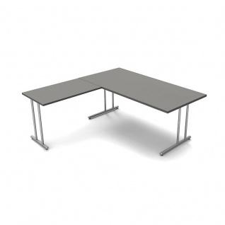 Kerkmann Schreibtisch START UP 180x80x75cm mit Anbautisch 100x60x75cm C-Fuß-Gestell alusilber inkl. Kabelkanal verschiedene Dekore