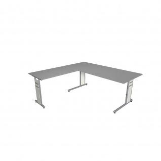 Kerkmann Schreibtisch 4096 Form 4 180x80 x mit C-Fuß-Gestell und Anbautisch - Vorschau 5