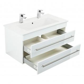 Badmöbel Villeroy&Boch Waschplatz Doppel-Waschbecken Venticello 100cm mit Unterschrank weiß Hochglanz - Vorschau 2