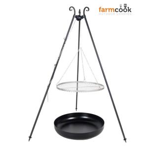 Outdoor Grill mit Feuerschale Pan 35, Dreibein, Rost Edelstahl o. Rohstahl verschiedene Größen