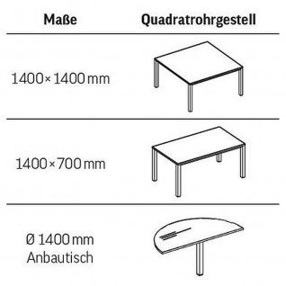 Konferenztisch Bürotisch E10 Toro 140 x 70 cm Quadratrohrgestell Höhe 740 mm verchromt - Vorschau 4