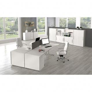 Kerkmann Schreibtisch START UP Freiform 195 x 80/100 x 75 cm C-Fuß-Gestell alusilber inkl. Kabelkanal verschiedene Dekore