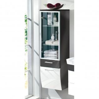 Badmöbel Badezimmer Gästebad Hochschrank Rima, mit Glastür, geschwungener Unterbau - Vorschau 3
