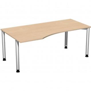 Gera PC-Schreibtisch Bürotisch 4 Fuß Flex Freiform links höhenverstellbar 1800x800/1000x680-800 mm ahorn buche lichtgrau weiß - Vorschau 5