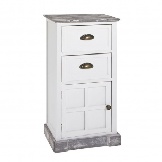 Kommode Schrank us Massivholz in weiß lackiert mit 2 Schubladen und 1 Schranktür