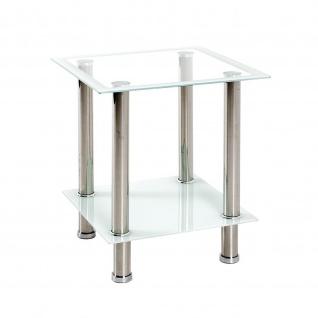 Beistelltisch Couchtisch Edelstahl Glas weiß 40x40x46cm