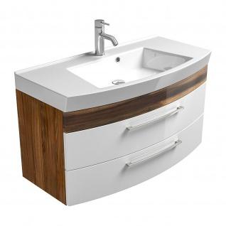 Badmöbel Badezimmer Gästebad Waschplatz Rima, 100 cm breit, MDF-Hochglanz Fronten - Vorschau 2