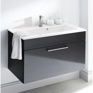 Badmöbel Badezimmer Waschplatz Heron mit Mineralgußbecken, MDF Hochglanz Fronten anthrazit