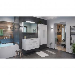 Posseik Badezimmer Badmöbel Badset Homeline 100 4-teilig weiß hochglanz
