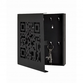 Schlüsselkasten QR-Code 10 Haken Metall schwarz