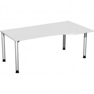 Gera PC-Schreibtisch Bürotisch 4 Fuß Flex Freiform rechts höhenverstellbar 1800x800/1000x680-800mm ahorn buche lichtgrau weiß - Vorschau 4