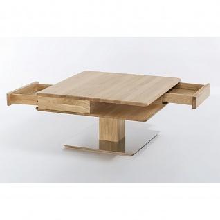 Woodlive Massivholz Couchtisch Quadro mit Edelstahlplatte Maße 85 cm x 85 cm - Vorschau 2