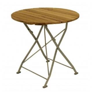 Klapptisch Holztisch Gartentisch Tisch, rund, Gestell verzinkt 70cm