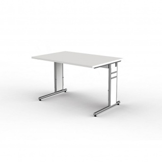 Kerkmann Schreibtisch 4100 Form 4 120x80 cm C-Fuß Alusilber Applikationen Typ C - Vorschau 3