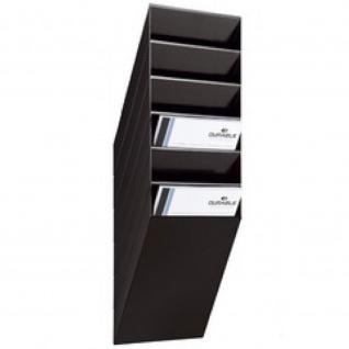 Wand Prospekthalter Set FLEXIBOXX 6, A4 Hochformat 6 Fächer schwarz