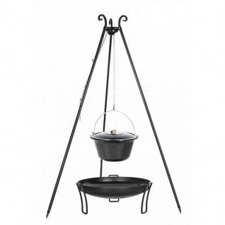 Outdoor Grill mit Feuerschale Pan 39, Dreibein, Emaillierter Kessel verschiedene Größen