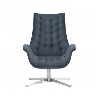 Design Lounge Sessel Kriteria mit Bodenteller aus Edelstahl einfarbig niedrige Lehne mit Steppung