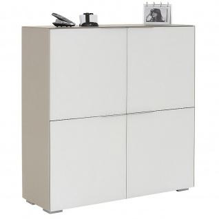 Maja Aktenschrank Highboard YAS Glas sand matt - Weißglas matt 1118x1136x372 mm