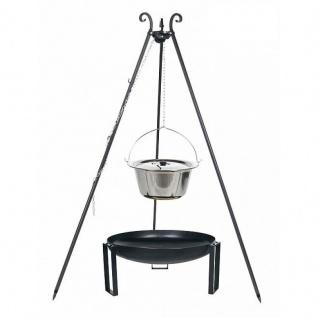 Outdoor Grill mit Feuerschale Pan 36, Dreibein, Kessel Edelstahl verschiedene Größen
