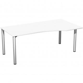 Gera PC-Schreibtisch Bürotisch 4 Fuß Flex Freiform rechts 1800x800/1000mm ahorn buche lichtgrau weiß - Vorschau 5