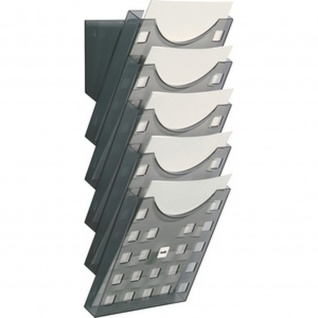Wand Prospekthalter Set A4 Hochformat grau-transparent